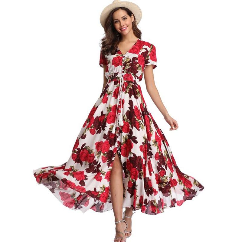 Vintage Clothing Women's Floral Maxi Dresses Boho Button Up Split Beach Party Dress 1