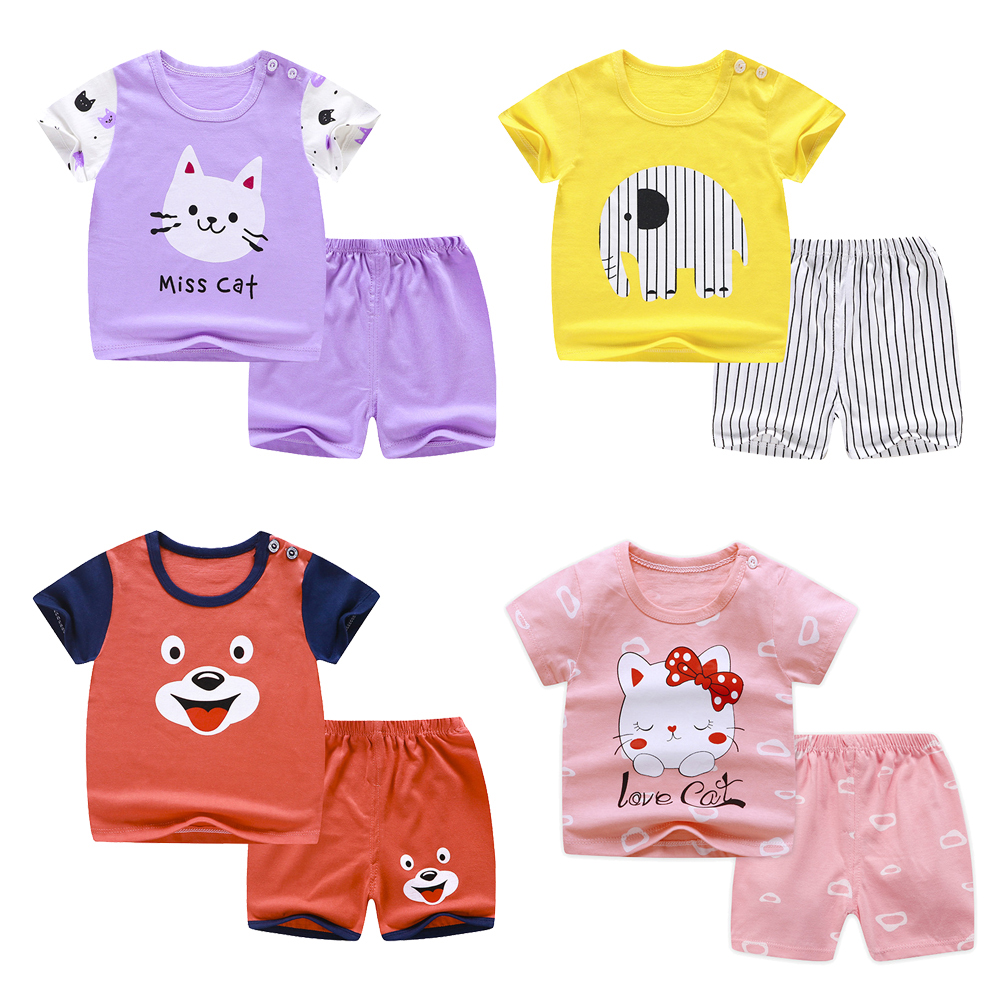 2020 Summer 1-6 Years Old Baby Clothing Set Short Sleeve Cotton Clothes Cartoon Animal Pyjamas Pijamas Set Sleepwear Outfits Set