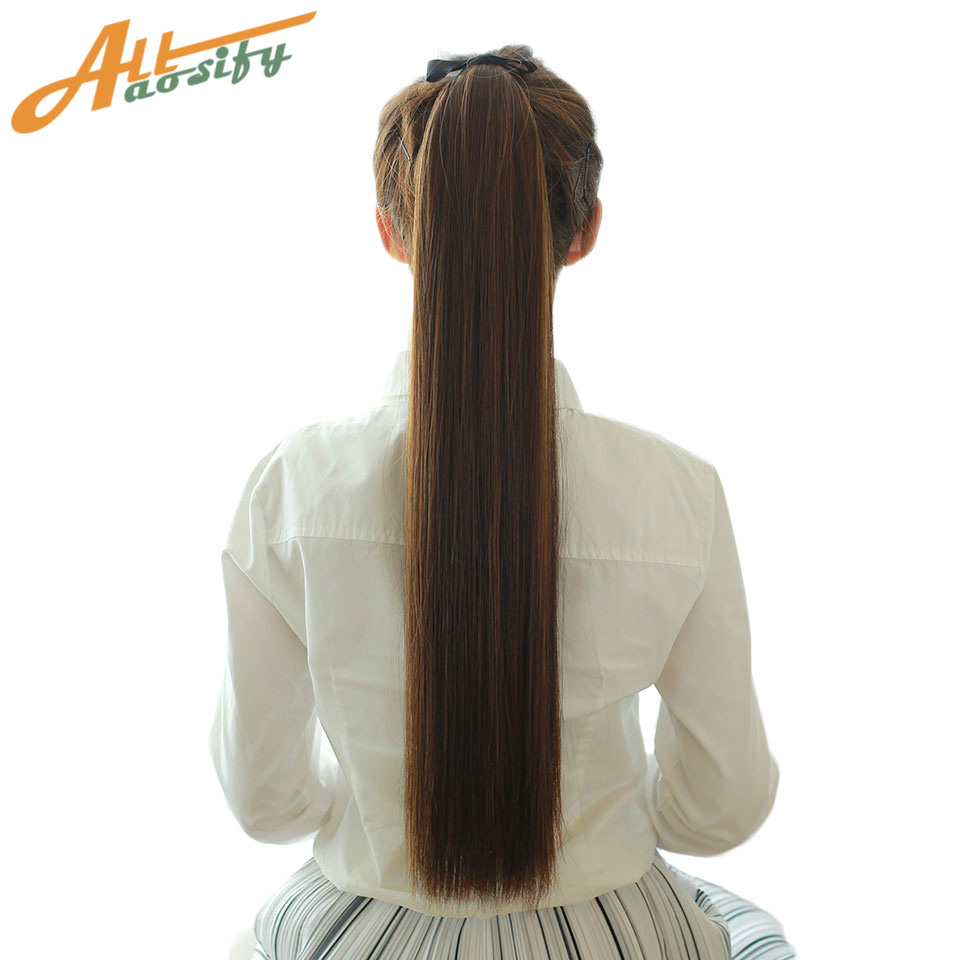 Allaosify Synthetic Long Straight Ribbon Drawstring Ponytails Hair Pieces Clip In On Hair Extensions Pony Tail Hair Extensions