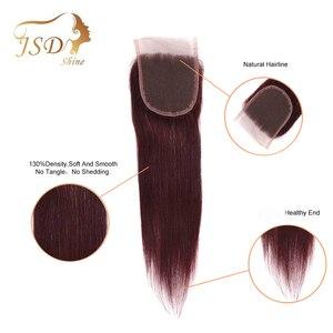 Image 3 - JSDshine mechones de cabello liso brasileño con cierre, rojo 99J, borgoña, mechones de cabello humano, postizo, mechones con cierre no Remy