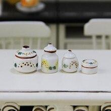 4Pcs 1:12 Dolls House Miniature Ceramic Pots Cans Seasoning Jar Set Furniture Toys Dollhouse Accessories
