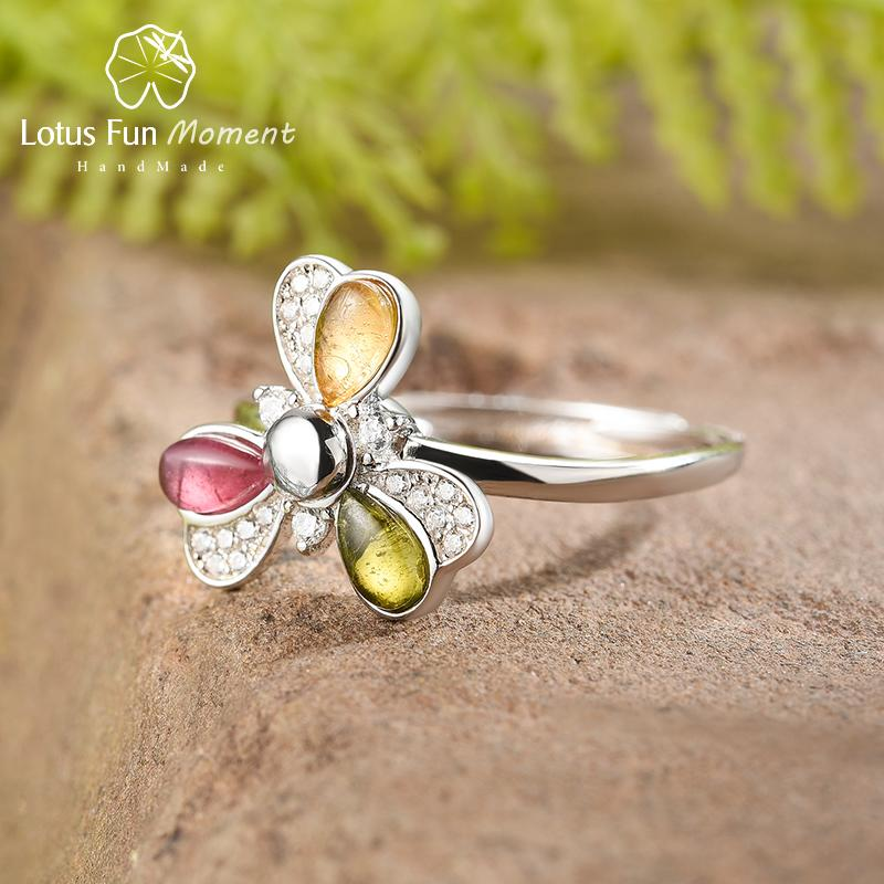 Lotus Fun Natural Tourmaline Gemstones Multicolor Rotatable Windmill Ring Real 925 Sterling Silver Fine Jewelry Rings for Women