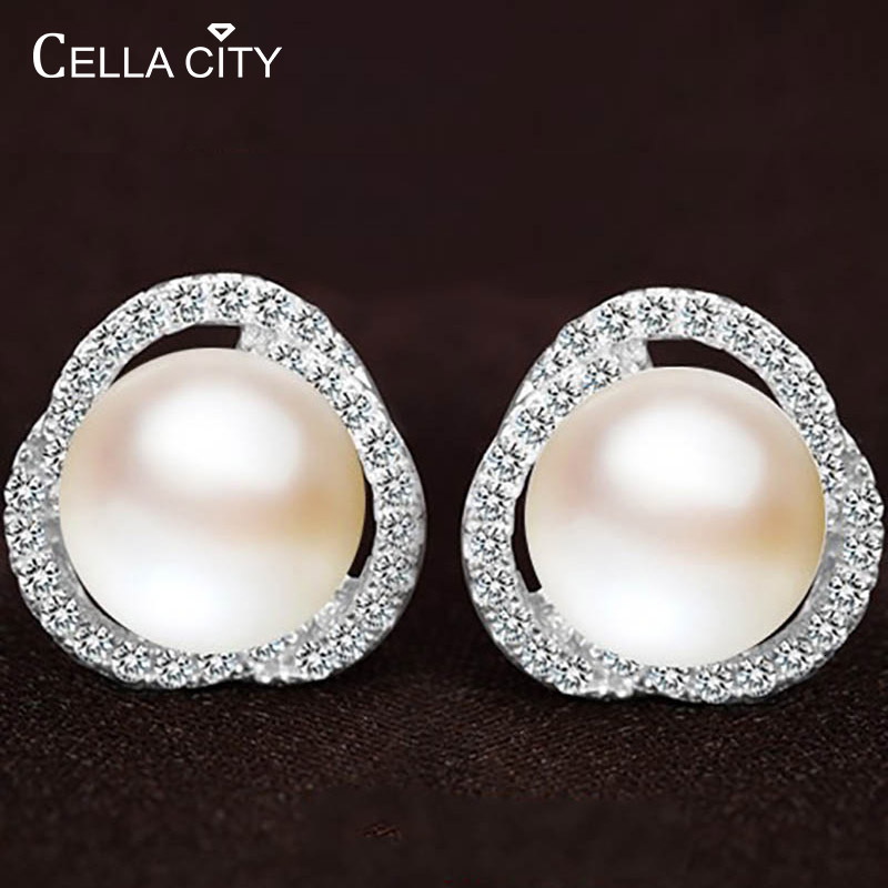 Cellacity Korean 925 Silver Earrings With Natural Freshwater Pearl Zircon Gemstone For Women Jewelry Stud Earring Wedding Gift