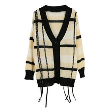 Shuchan Plaid Women Cardigan with Tassel Thin Women's Leisure Clothing Single Breasted Womens Knitted Sweaters Korean Top недорого