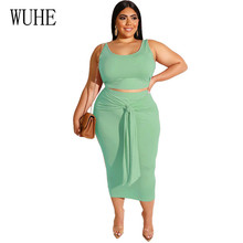 WUHE Large Size 4XL 5XL Bandage Tight Two Piece Set Sleeveless Women Casual Tank Crop Top And High Waist Midi Skirts