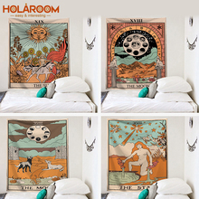 Tarot Card Tapestry Old Vintage tapices brujería astrología estrella Luna diosa mar Ninfa sirena cama decoración manta tela de pared
