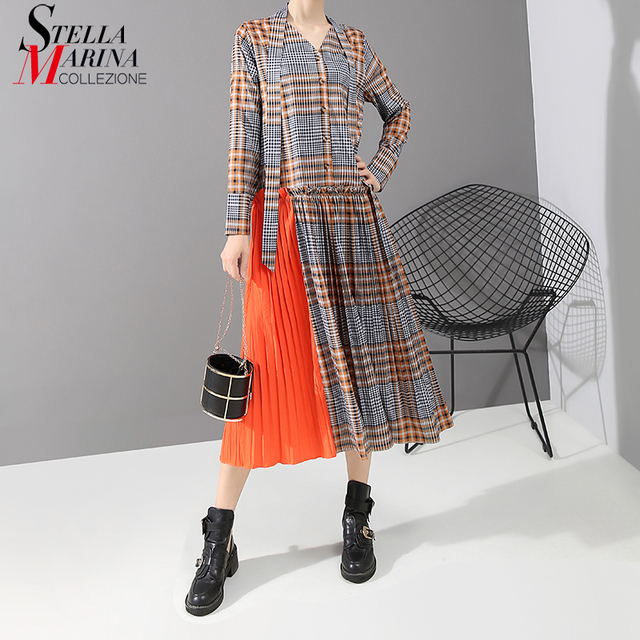 New 2019 Korean Style Women Orange Plaid Long Dress With Tape V Neck Pleated Ladies Stylish Elegant Fashion Dress vestido 5516