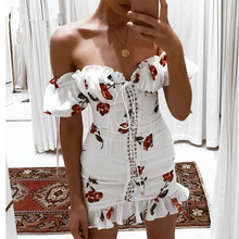 Summer Dress 2019 Vintage Sexy Lace Up Floral Mini Dress Elegant Party Ruffle Dress Puff Sleeve Strapless Bodycon Beach Dress embroidered puff sleeve bodycon mini dress