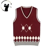 Vest Golf-Clothing Knitted Women V-Neck Sweater Pullover Jk-Uniform Diamond-Pattern College-Style