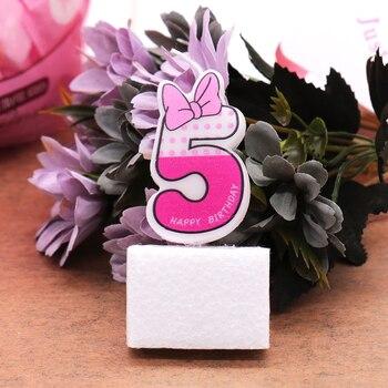 Cumpleaños decoración de pastel de fiesta número 0-9 Decoración Para Cumpleaños de bebé velas Día de San Valentín número Rosa romántico suministros