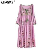 Vintage chic kadınlar Bohemian ağır çiçekler işlemeli pamuk gevşek elbise robe bayanlar V boyun püskül Boho maxi elbise vestidos