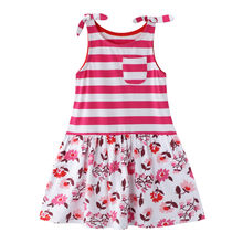 Girl Dress 2020 Sleeveless Kid Dresses Toddler Kids Baby Girls Flowers Print Striped Princess Dress Casual Clothes vestido de(China)