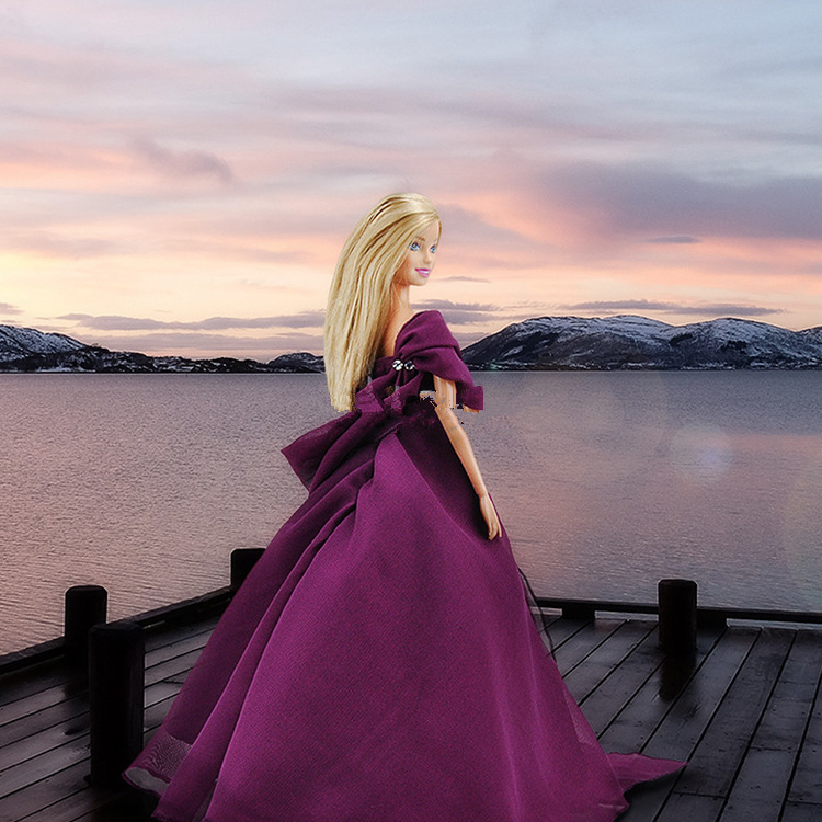 Fashion Doll Purple Wedding Dress Evening Party Wear Long Dresses For Barbie Dolls Outfit 1/6 Doll Accessories Kids Toy