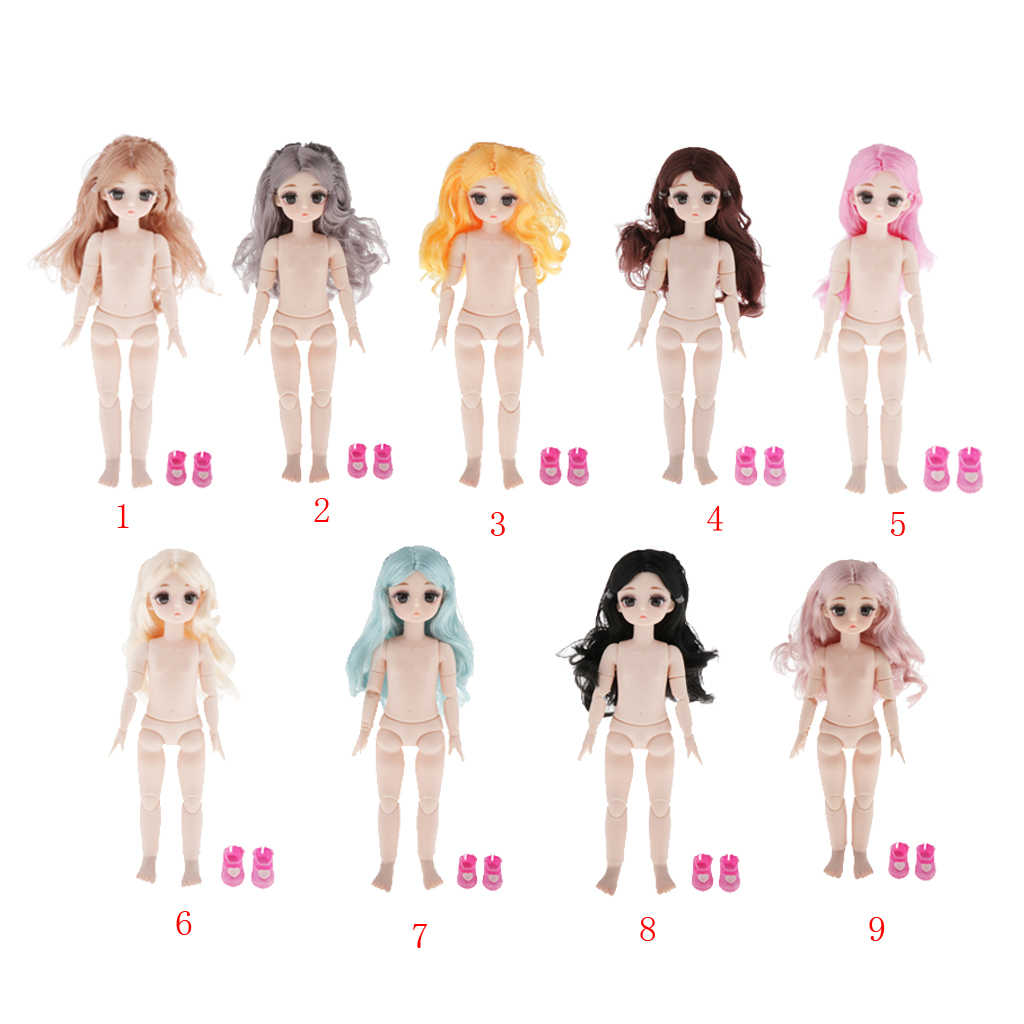28cm Unpainted Female Plastic Nude Blank Doll Full Body DIY Making w// Shoes