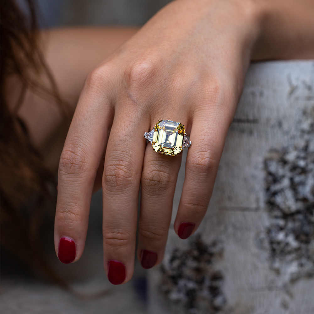 PANSYSEN Luxury สร้าง Moissanite อัญมณีแหวนหมั้นแหวนเงินแท้ 925 เครื่องประดับขนาด 5-12