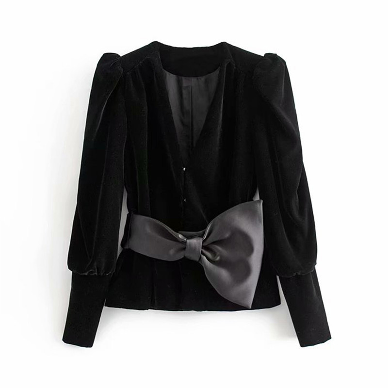Women Stylish Solid Black V Neck Velvet Blazer Hidden Breasted Puff Long Sleeve Back Bow Tie Female Casual Wear Top Blusas