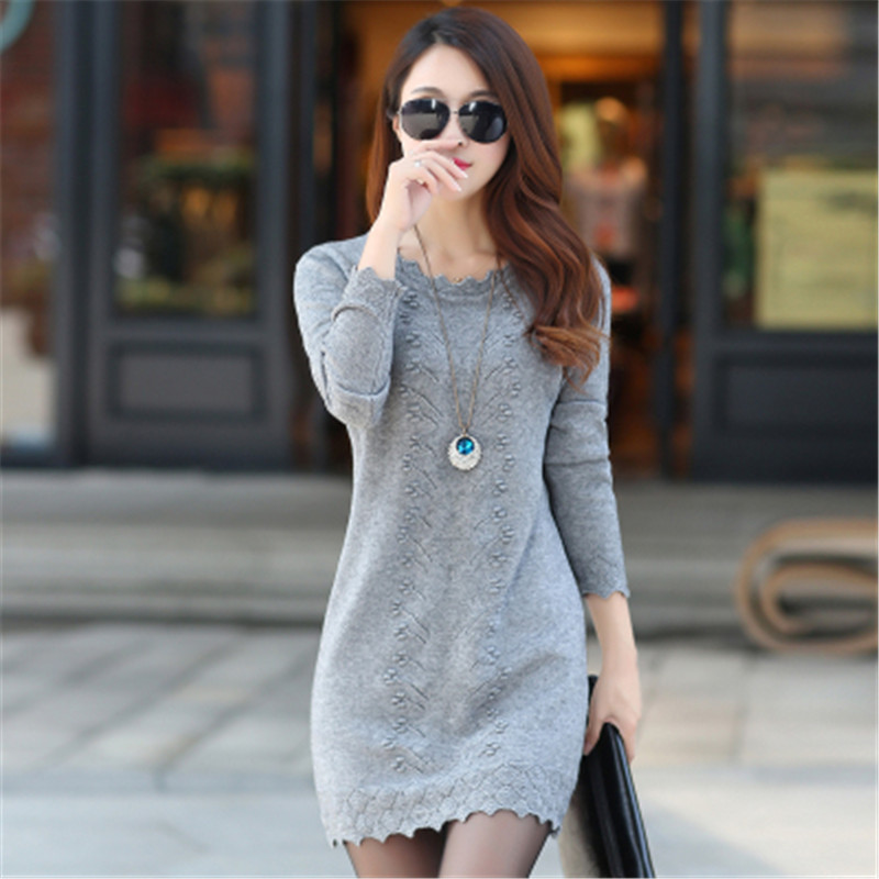 Women Sweaters Dress 2019 Autumn Winter Warm Long Knitted Sweater Plus Size 3XL Lady Solid Full Sleeve Knit Bottoming Pullovers