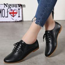 Shoes Spring Women Flats Comfortable Soft Woman Casual Ladies Ngouxm Lace-Up Oxfords