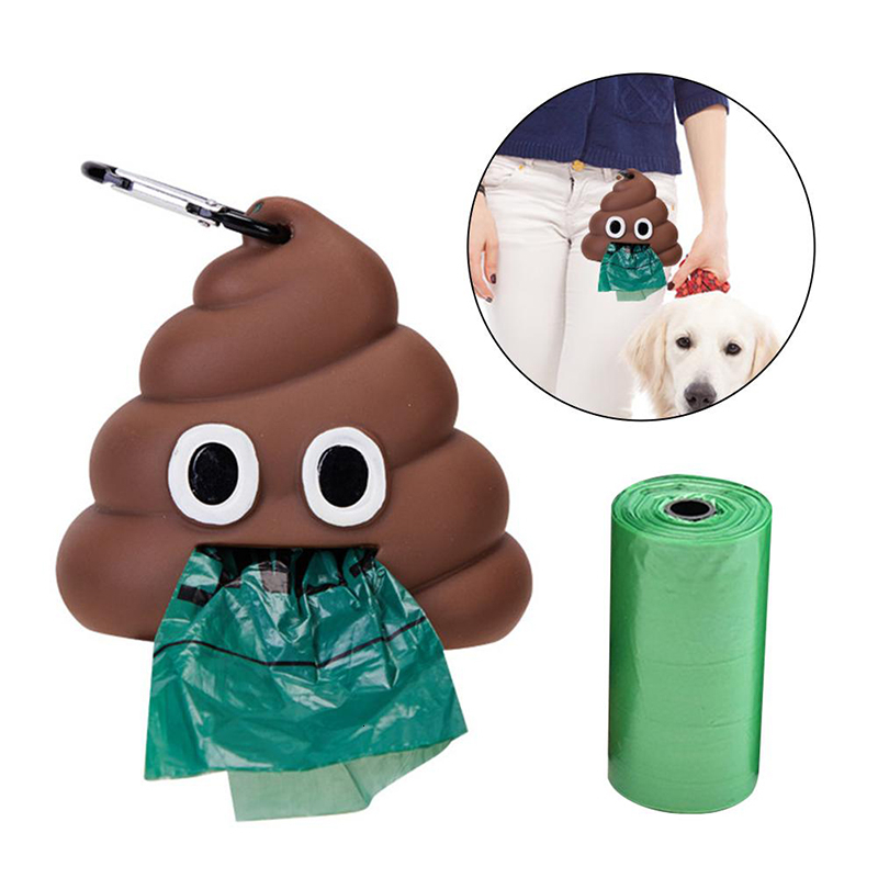 Portable Outdoor Toilet Pet Dog Poop Bag Holder Dog Garbage Bag Cute Poop Shape Dog Waste Bags Storage Cleaning Products