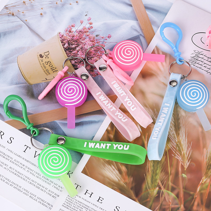 Simple Useful Lollipop Design Fashion Young People Color Keyring High Quality Creative Girls & Students Multicolor Rope Keychain