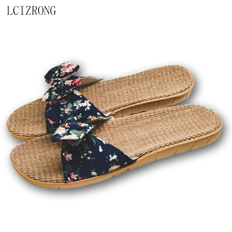LCIZRONG Summer 6 Colors Flax Home Slippers Women Slapping Beach Flip Flops Non-slip House Female Family Slippers
