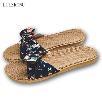 LCIZRONG Summer 6 Colors Flax Home Slippers Women Slapping Beach Flip Flops Non-slip House Female Family Slippers цена 2017