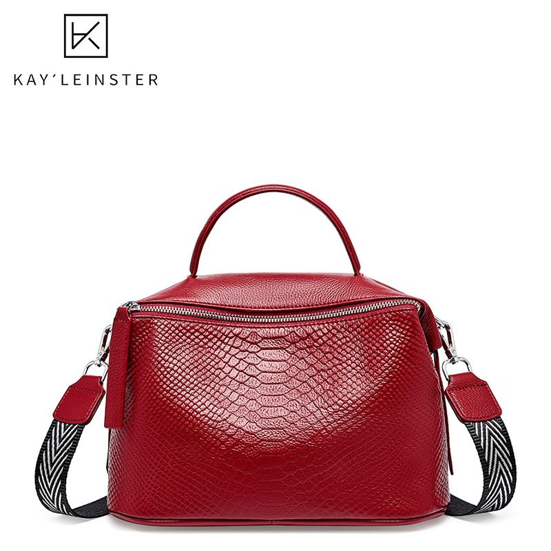 Autumn And Winter New Leather Women Handbags Crocodile Pattern Soft Boston Shoulder Bag Solid Color Zip Cross Body Bags For Lady