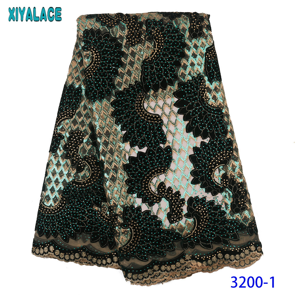African French Lace Fabric 2020 Velvet Lace Fabric Nigerian Net Embroidered Laces With Sequins Stones For Party KS3200