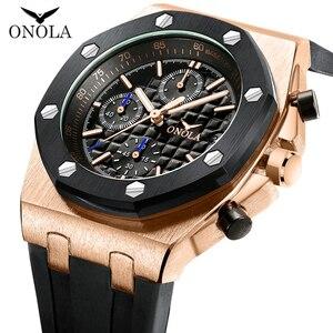 Image 3 - ONOLA di marca del quarzo di modo casuale mens orologio cronografo orologio da polso Multifunzione tutto in metallo oro nero orologio da polso impermeabile per gli uomini