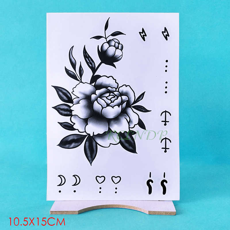 Tahan Air Sementara Tato Stiker Bunga Mawar Bulan Jangkar Palsu Tatto Flash Tato Tangan Lengan Kaki Kembali Tato Untuk Gadis Wanita Pria Sementara Tato Aliexpress