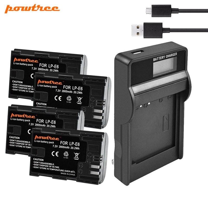 Powtree LP-E6 LP E6 2800mAh 7.2V Battery + USB LCD Charger For Canon EOS 5D4 5D3 60D 6D 7D 70D 80D 5DSR Camera