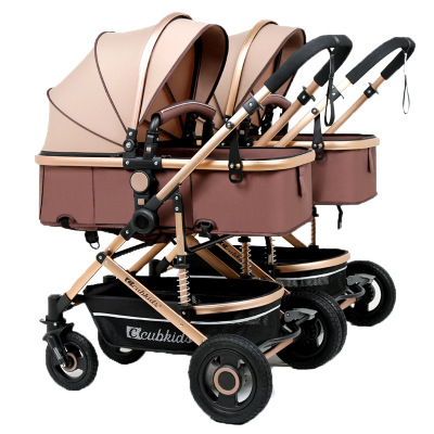 7.8 Twin Baby Strollers Light Fold Two Baby Pram Fold Newborn Baby High Landscape Detachable Double Kids Car Free Gifts