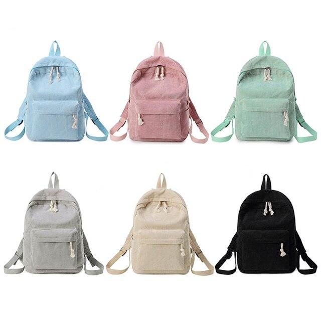 Фото вельветовый школьный рюкзак для девочек подростков дорожный цена