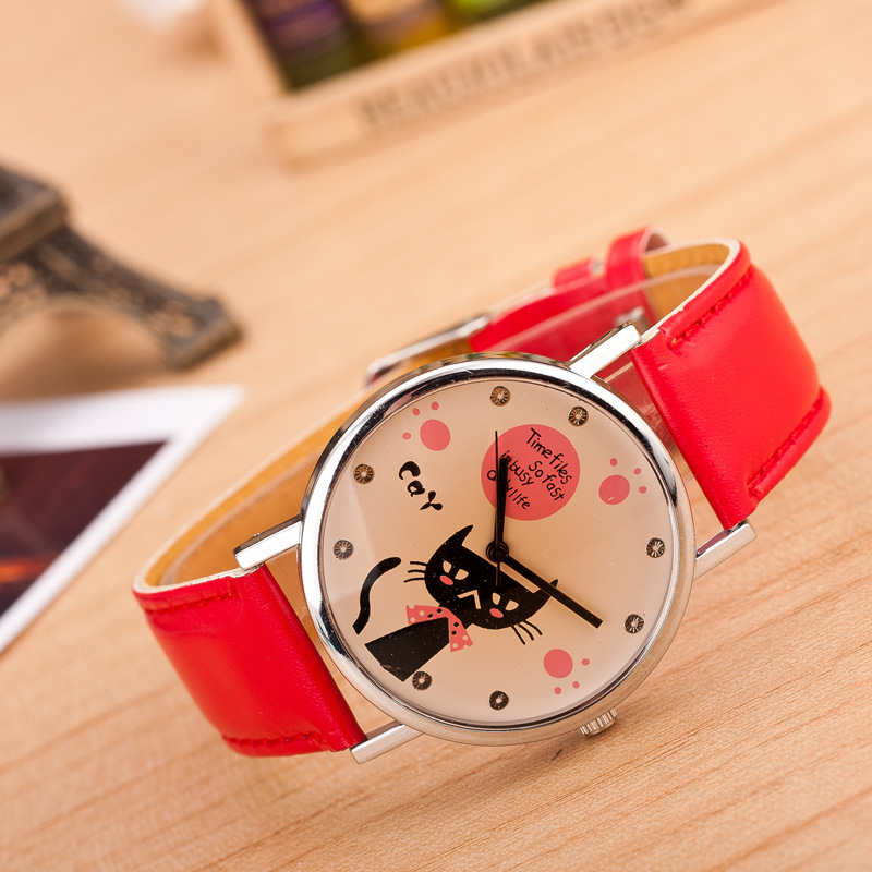 Hesiod Luxury Black/Red/Orange Leather Women Dress Watches Wristwatch Cat Bracelet Watch Female Round Clock Quartz Watches