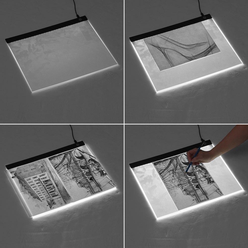 Tableta de escritura A3 Ultra delgada LED, Panel de trazado de pintura, tablero de copia continuo para dibujo de tatuaje de dibujos animados, dibujo, visualización de rayos X