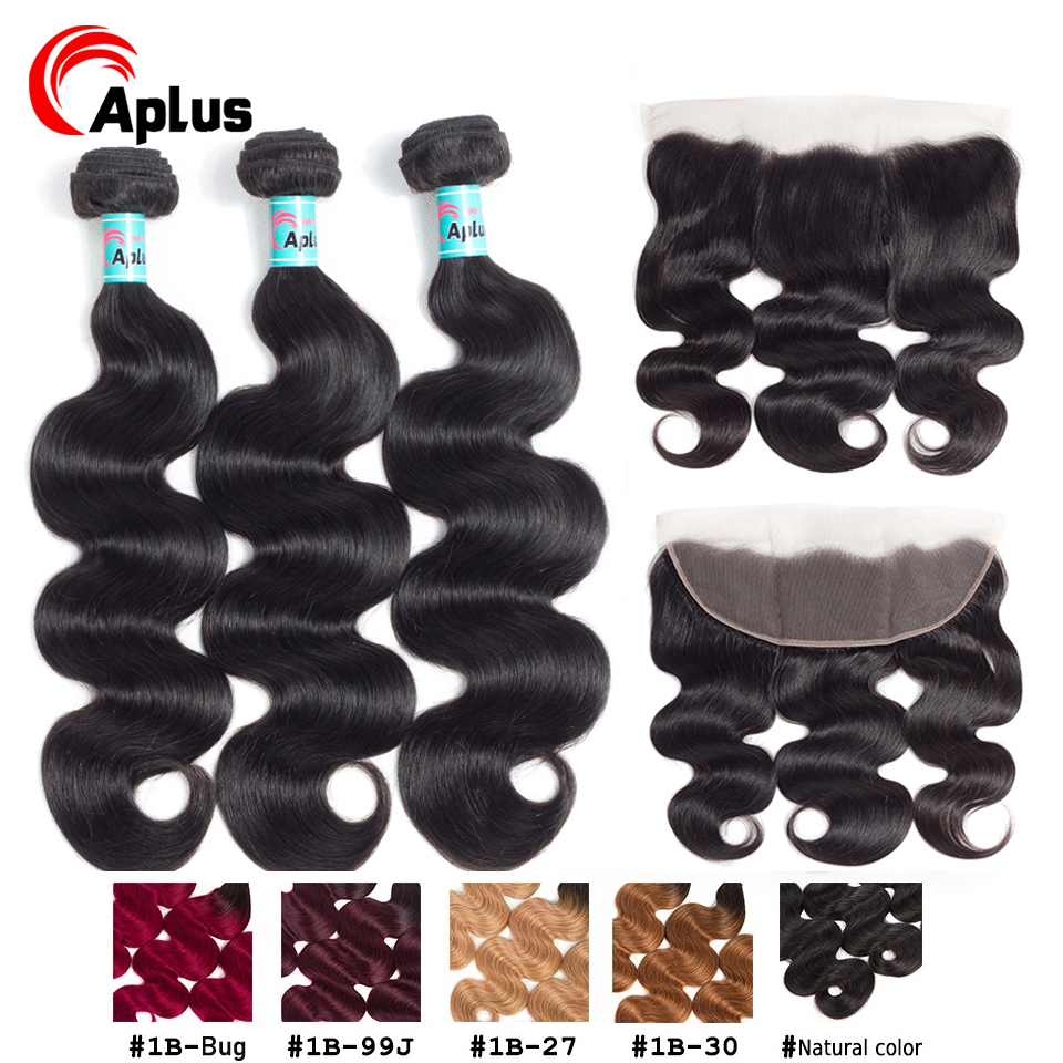 Malaysian Body Wave 3 Bundles With Frontal 100% Remy Human Hair Bundles With Lace Closure Pre Plucked 13x4 Frontal With Bundles