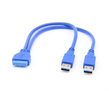 30Cm Dual 2 Port USB3.0 USB 3.0 A Male to Motherboard Mainboard 20Pin Cable Adapter 19 Pin USB Extension Cable usb 3 0 20pin male to female extension adapter angled 90 degree for motherboard mainboard connector socket 20pin male to female