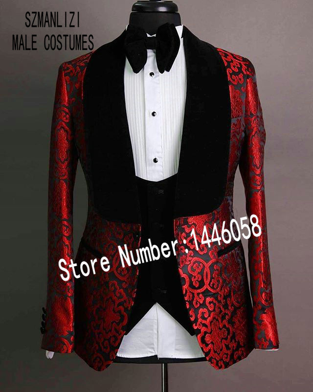 2019 Black Velvet Lapel Mens Suits Red Groomsmen 3 Pieces Tuxedos Costume Slim Fit Formal Prom Party Men Wedding Groom Suits