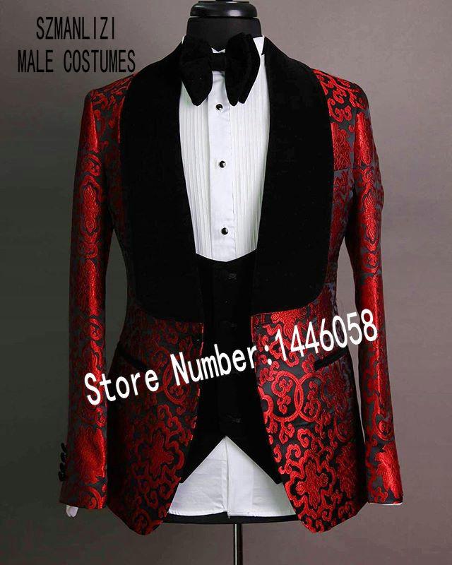 2019 Black Velvet Lapel Mens Suits Red Groomsmen 3 Pieces Tuxedos Costume Slim Fit Formal Prom Party Men Wedding Groom Suits