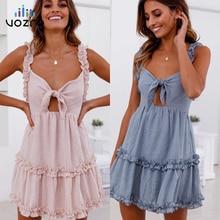 VOZRO 2019 Temperament Lotus Leaf Edge Chalaza Hollow Out Sexy Summer Party Lace Dress Women Vestidos Dresses Vintage Clothes