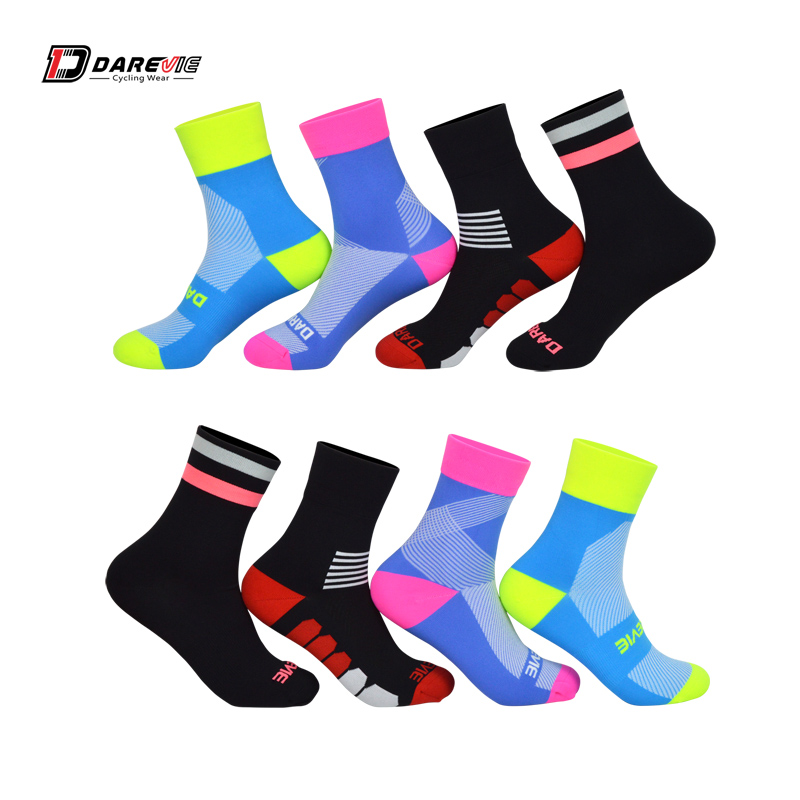 Darevie 2 Pair/lot Cycling Socks Free Size Professional Sports Socks Men Women Road Bicycle Anti-Fungal Outdoor Sports Sock