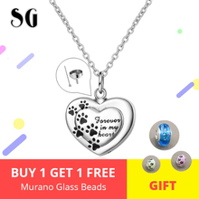 925 Sterling silver forever in my heart pendant cremation Dog paw urn necklace chain for Women memorial Jewelry