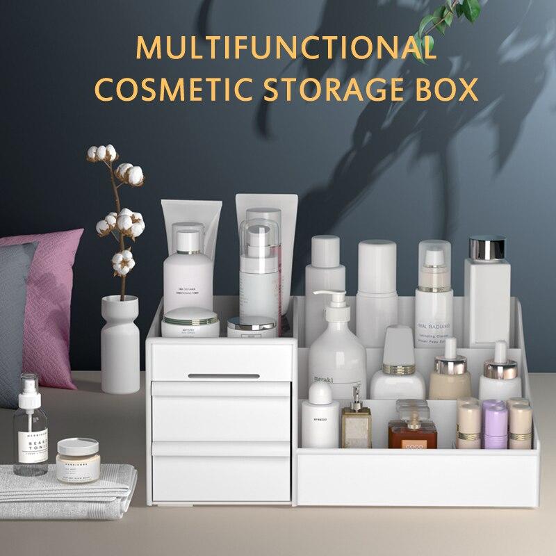 Desktop Cosmetics Makeup Organizer Acrylic Box Dresser Lipstick Skin Care Products Shelf Diamond Pattern Cosmetics Receiving Box