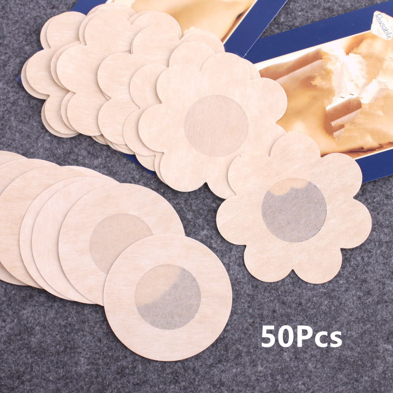 50pcs Women's Invisible Breast Lift Tape Overlays On Bra Nipple Stickers Chest Stickers Bra Nipple Covers Accessories Tool
