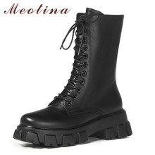 цена на Meotina Women Motorcycle Boots Shoes Real Leather Platform High Heel Mid-Calf Boots Lace Up Zip Thick Heels Boots Lady White