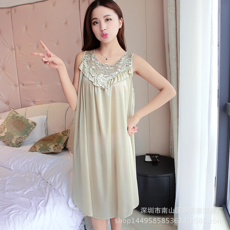 New Style Summer Viscose Nightgown Women's Multi-color Selectable Silky Super Soft Home Dress Women's Summer Thin Midi-skirt