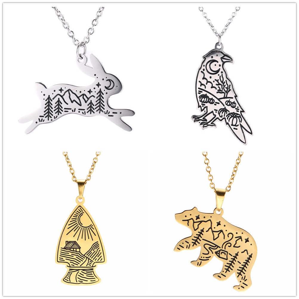 נירוסטה זהב צבע בעלי החיים תליון שרשרת דוב חץ נשר כלב שועל זאב נוף ירח שמש עץ שרשרת שרשראות תכשיטים