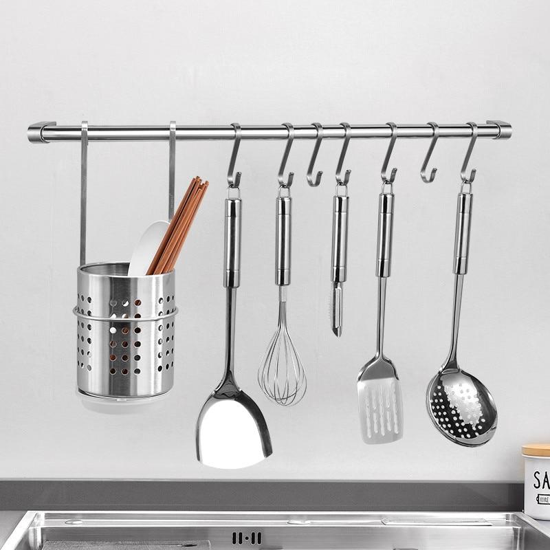 304 stainless steel kitchen hanging rod wall hanging rack spatula shelf kitchen storage bracket chrome polish wall mounted kitch
