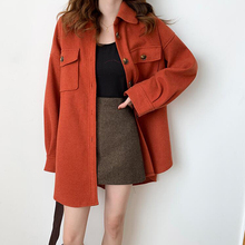 Plus Size Loose Wool Blends Long Winter Coat Turn-down Colla