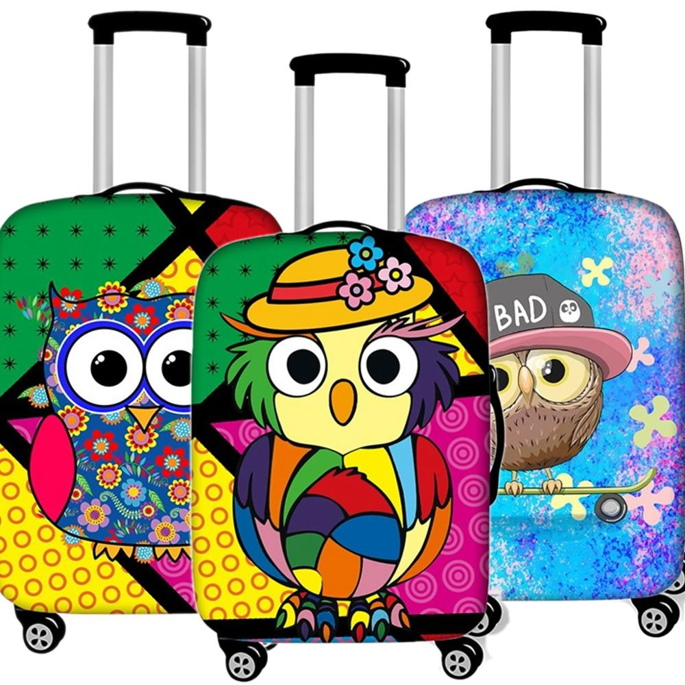 Kawaii Animal Owl Luggage Case Protective Cover Waterproof Thicken Elastic Suitcase Cover Apply 18-32 Inch Travel Accessories